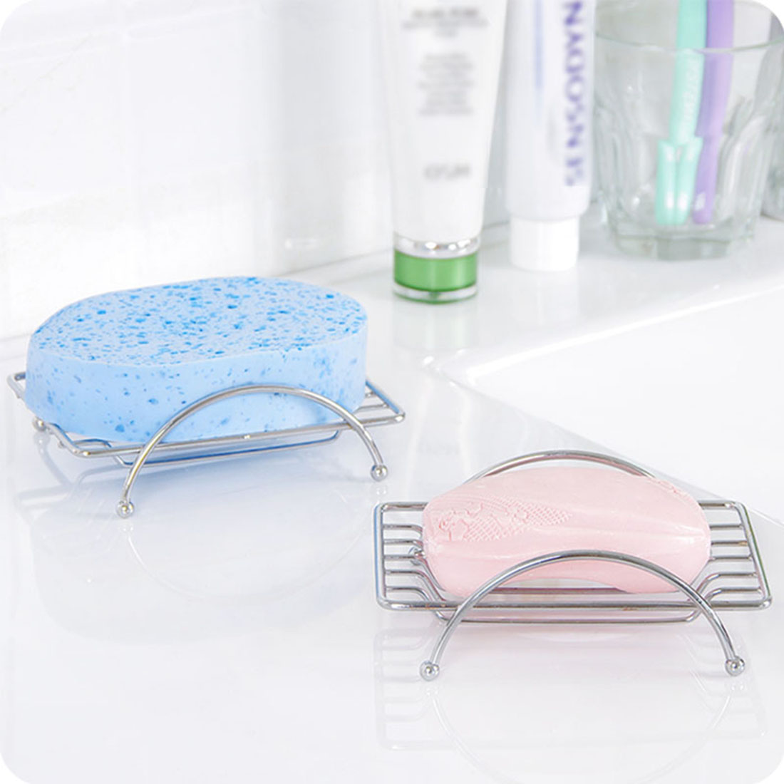 Stainless Steel Soap Dishes Soap Holder Case Brand Bathroom Accessories Rust-resistant Saver Basket for Bathroom Toilet Shower
