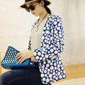 Женщины Пиджаки И Куртки 2016 Мода Длинным Рукавом One Button Повседневная Синий белая Точка Печати Пиджаки Пальто блейзер feminino