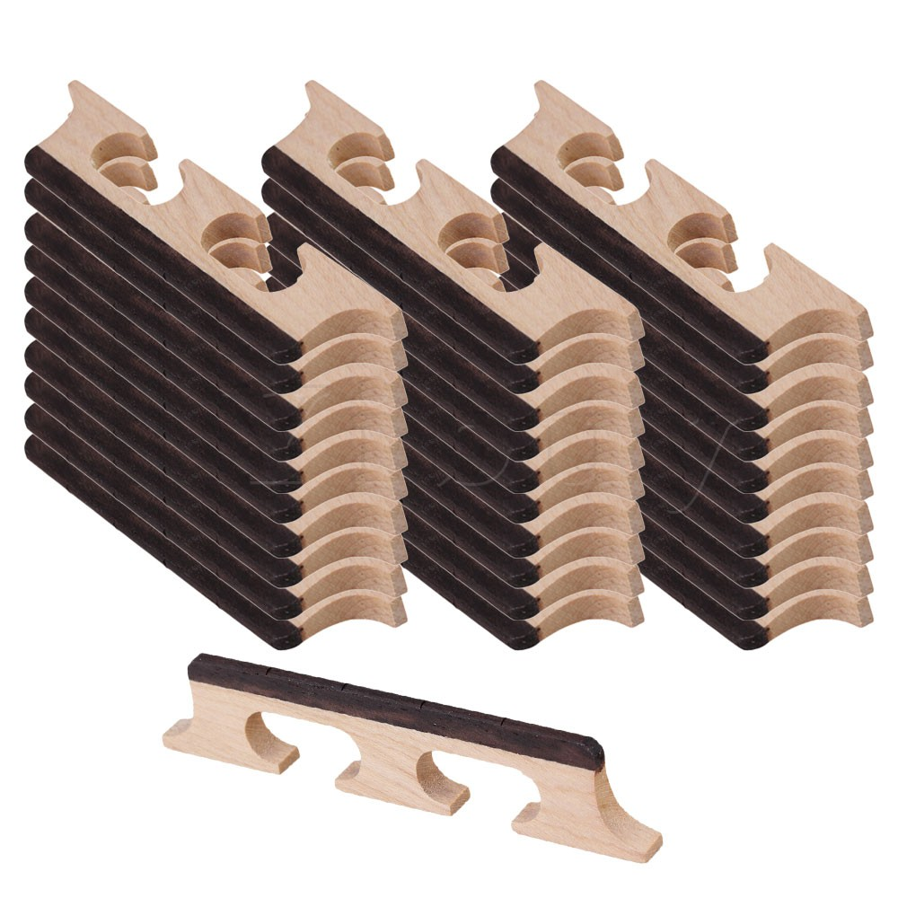Yibuy 50pcs Maple 4 String Ukulele Banjo Guitar Bridge String Instruments Parts single guitar bridge for 3 4 5 string guitar cigar box banjo with screws wrench