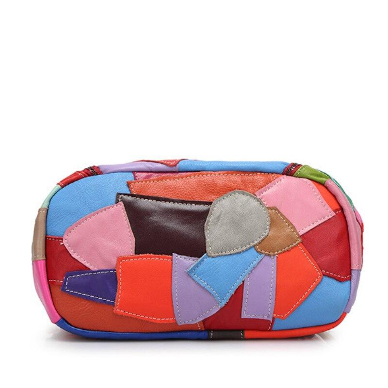 2018 mode sacs à dos en peau de mouton pour les femmes en cuir véritable Double sac à bandoulière couture couleurs sac à dos européen et américain - 5