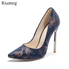 Rxemzg elegant printed flock shoes woman high heel basic design 2018  fashion pointed toe slip on sexy pumps womens silver heels a14bbdda3600