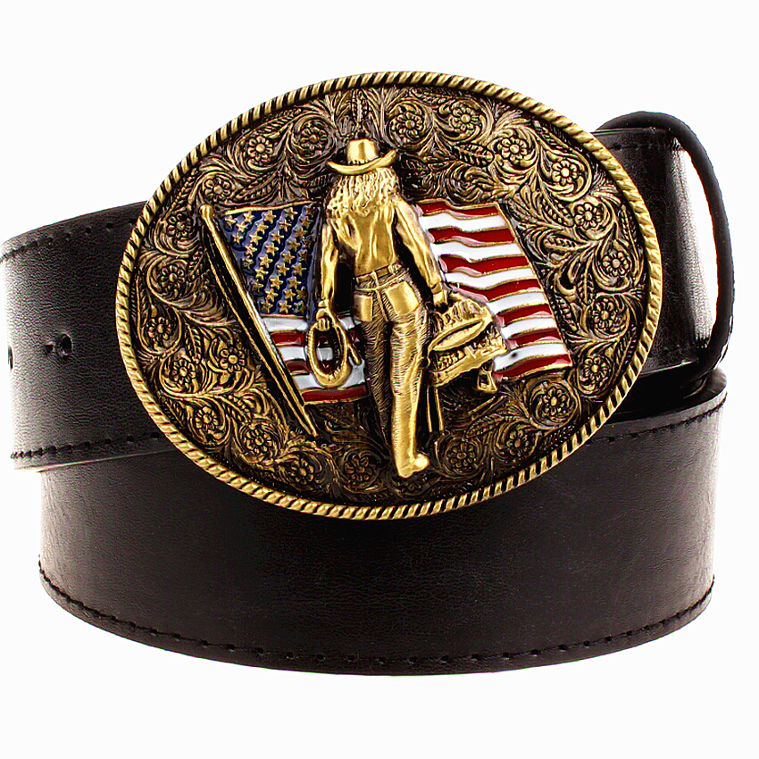 Wild Personality Men's Belt Metal Buckle Colour Western Cowboy Belts American Cowboy Style Trend Belt For Men Gift Free Shipping