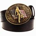 Personalidad salvaje de Los Hombres cinturón de hebilla de metal de color cinturones de vaquero del oeste Americano estilo vaquero cinturón de tendencia para los hombres regalo libre gratis