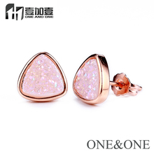 Hot Sell Jewelry Natural druzy Stud Earrings White color Triangle 8* 8*8mm Free Shipping