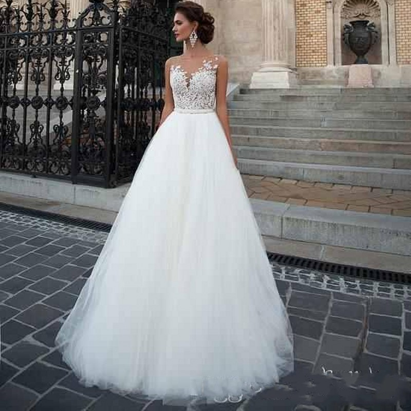 White Wedding Dresses: Puffy A Line Tulle Wedding Dresses Sheer Cap Sleeve