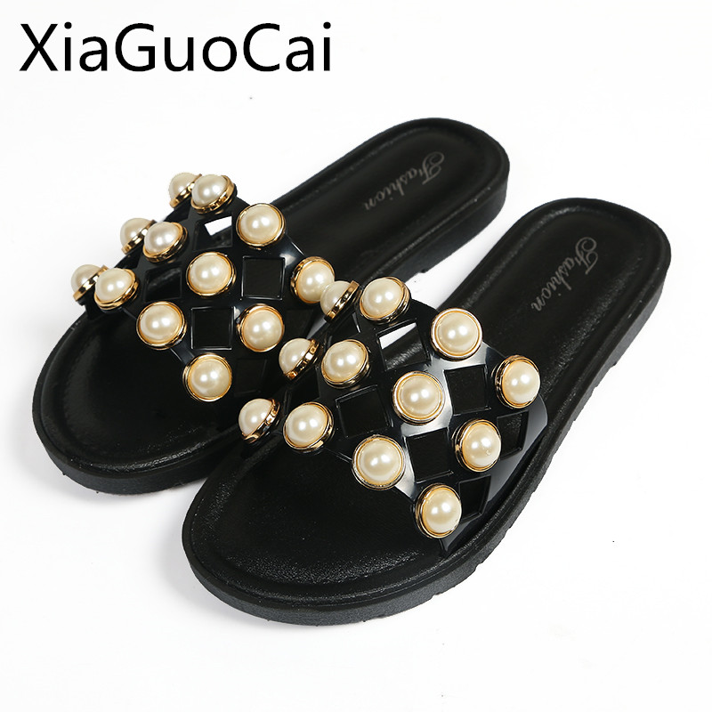 New Arrival Fashion Women Slippers Outdoors Flat String Bead Summer Slippers Hollow Out Beaded Slides Drop Shipping W15 35 new summer slipper women slippers slides women sandals slippers word h hollow out women single sandals non slip fashion