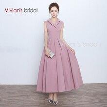 Vivian der Braut Vestido de Festa V-ausschnitt A-Line Abendkleider Tank Robe de Soire