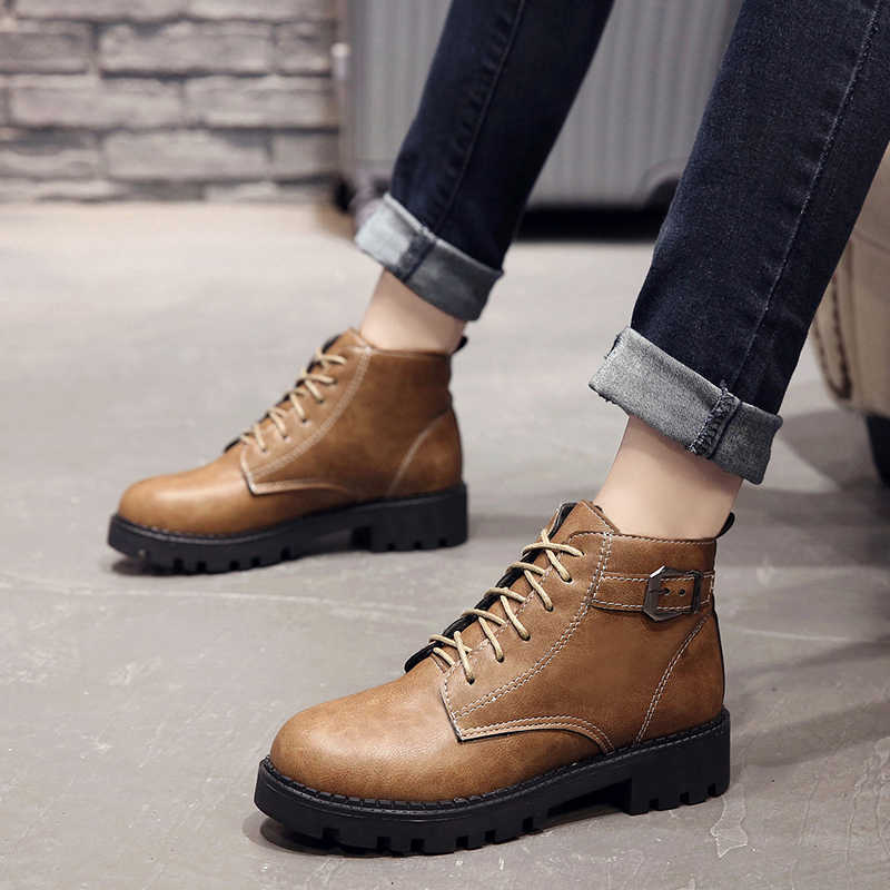 PU Leather Women Boots Autumn Winter Women Ankle Boots Fashion Square Heel  Lace Up Ladies Shoes 430e4469e956