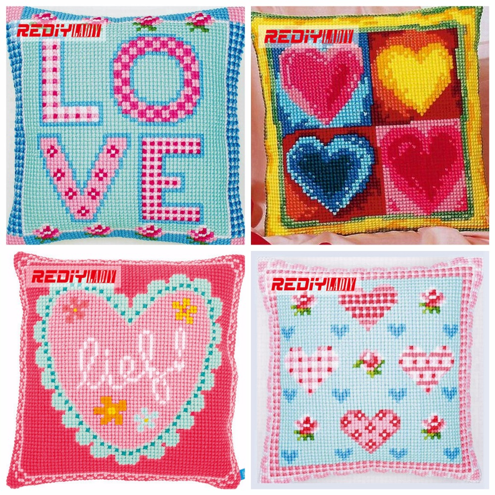 Rediy Ladiy Cross Stitch Cushion Cover Home Decorative Pillow Case Fashion Chunky Cross-stitch Kits Red Love Sofa Throw Pillows Home & Garden