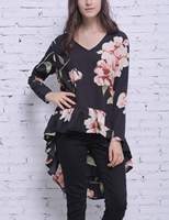 Blooming Jelly Casual Chiffon Blouse Blusas Floral Print Blouse Tops Chiffon Shirts Tops Elegant Autumn Cool