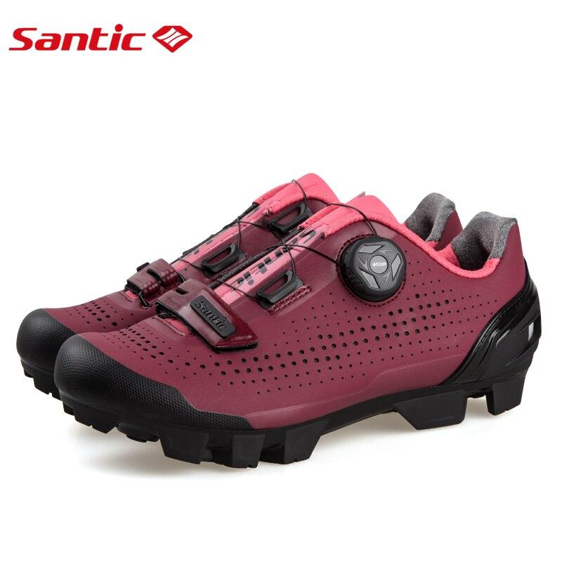Santic Women Cycling Shoes MTB Shoes Mountain Bike Biking Sneakers Rotating Lock Matte PU Chili Color