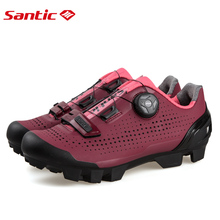 Santic Women Cycling Shoes MTB Mountain Bike Biking Sneakers  Rotating Lock Matte PU Chili Color Scarpe Mtb Non-Skip Heel