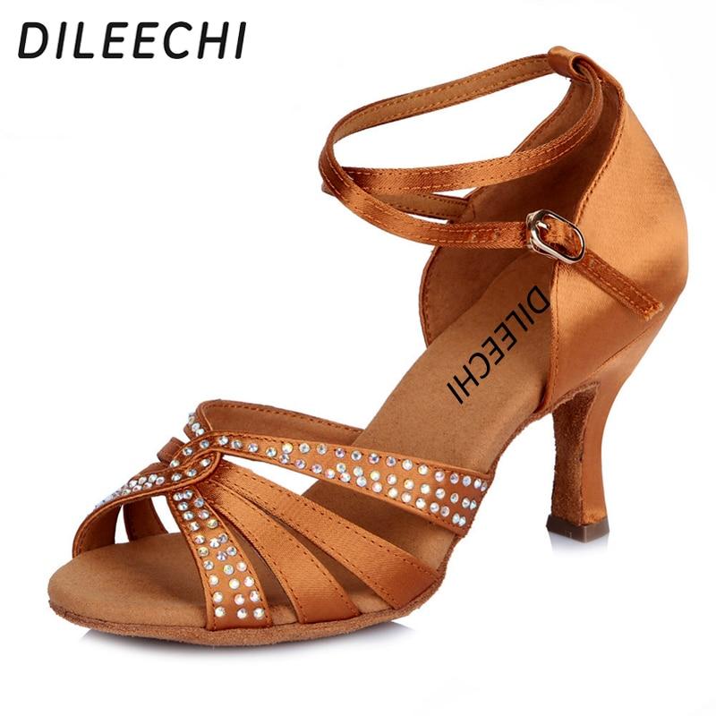 DILEECHI Women's Satin Latin Dance Shoes Rhinestone Dance Shoes Salsa Party Tango Ballroom Dancing Shoes Girls Ladies Heel 75mm