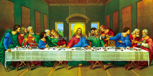 Canvas paintings masterpiece reproduction Leonardo Da Vinci last supper Tobey Poster Print  mural painting home decoration art leonardo and the last supper