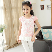 New Summer Girls Wear Lace Color Korean Children T-shirt Hot Pink Yellow Dark Pink