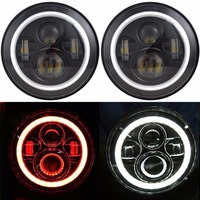 Pair LED Headlights 7 Inch Round LED Bulb with White/Red Halo Angle Eye Ring & DRL & Turn Signal Lights for Jeep JK TJ CJ