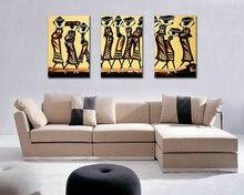 3 Панелей Импрессионистов Африканских Женщин Холст Печати Живопись Маслом на Холсте Home Decor Настенные Панно Для Гостиной Unframed