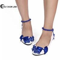 Wedding Shoes 3cm/5cm/8cm Heel White Pearl Bride Bridesmaid performance blue Bow Formal Dress Shoes Women Pumps Free Shipping