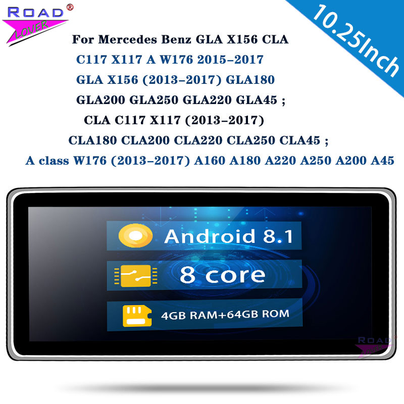 Autoradio Car Head Unit 10.25'' For Benz GLA X156 CLA C117 X117 A W176 2012-2015 Stereo 1 Din Car Radio Android 8.1 Octa Core image