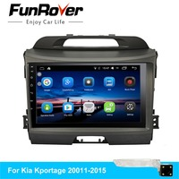 FUNROVER 2 din android 8.0 car dvd for kia sportage 2009 2011 2012 2013 2014 2015 car radio gps navigation steering wheel RDS FM