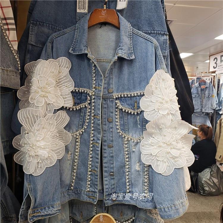 유럽 레이디 데님 재킷 2019 봄 가을 새로운 입체 꽃 바느질 구슬 기술 연삭 화이트 데님 코트-에서베이식 쟈켓부터 여성 의류 의  그룹 1