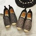 2017 Niñas Slipony Lona de Las Mujeres Bling de Zapatos Planos Rhinestone Diseñador de la Marca Pisos Alpargatas Mocasines Horsebit holgazán Tachonado