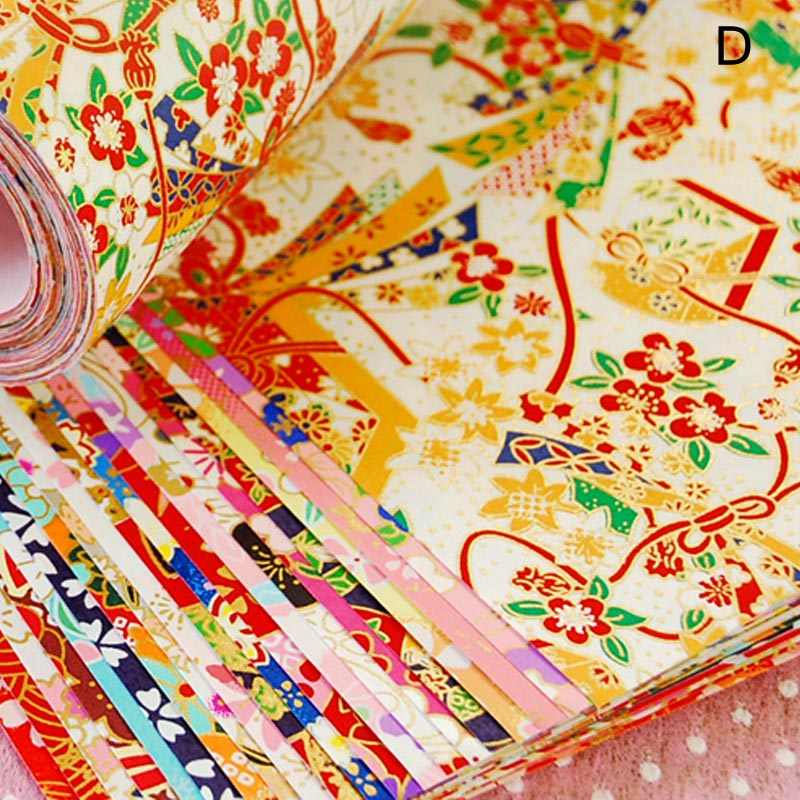 Origami Paper Flower Square Scrapbook Handmade Materials Gold Lines Crane DIY