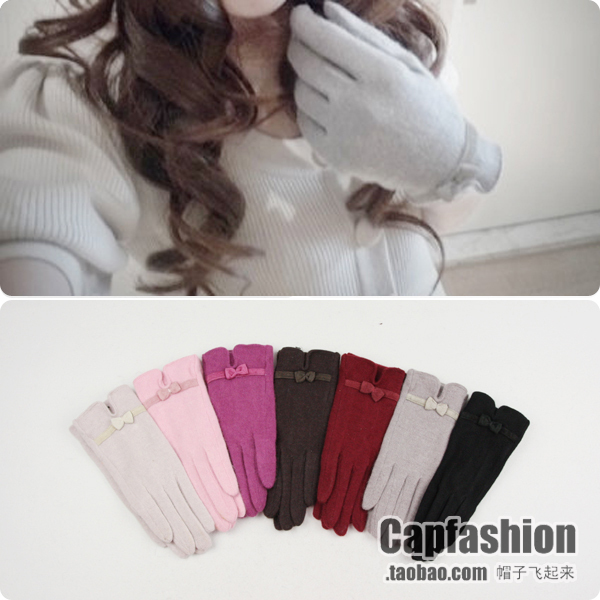 Big c ol white collar bow wool gloves women's gloves autumn and winter