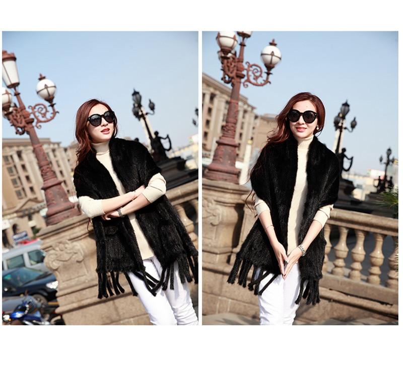 Натуральная вязаная кожа норковый шарф Зимний шарф завернутый Дамы Теплый ручной работы Мода натуральный мех черный/коричневый шаль