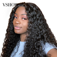 13x4 VSHOW Peruvian Water wave Lace Front Wig Pre Plucked With Baby Hair 150% 180% 250% Density Remy Wave Human