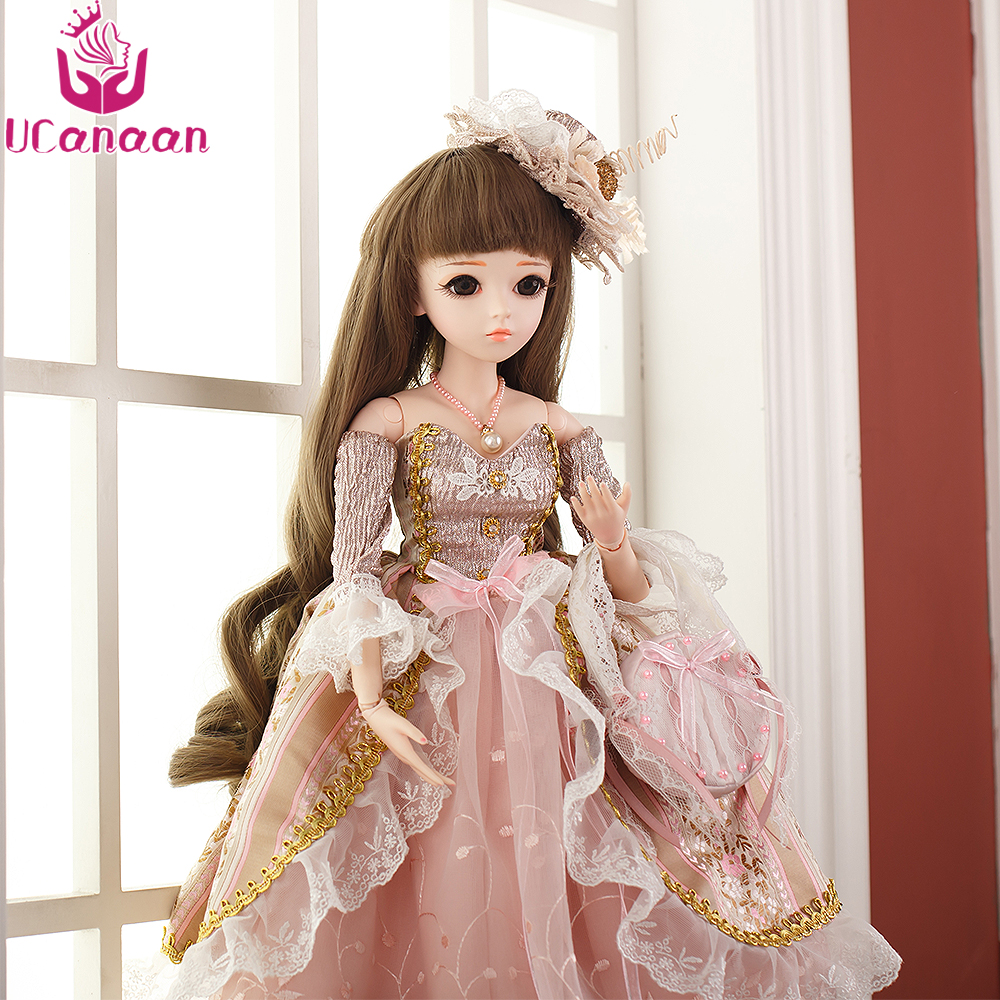 UCanaan 60CM SD BJD Doll 1/3 Girl Doll Princess Dress Long Hair Toys With Outfit Shoes Wigs Makeup Clothes 18 Ball Joints Dolls american girl doll clothes 4 styles elsa blue lace princess dress doll clothes for 16 18 inch dolls baby doll accessories x 2