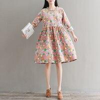 2017 Nowa Jesienna Vintage Kobiety ubierają Druku Małe Jasne Sztruks Suknie Różowy Granatowy 5285