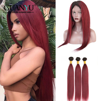 Guanyuhair Ombre 1B/99J Burgundy 360 Lace Frontal with Bundles Pre Plucked Straight Brazilian Human Hair Weave Remy Hair