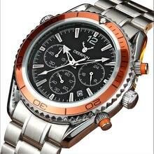 Reloj deportivo de cuarzo para hombre, cronógrafos de marca famosa, resistente al agua, con fecha completa de acero, Masculino