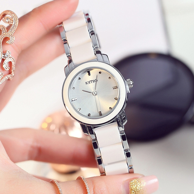 Kimio Brand Women Bracelet Watches Lady Fashion Dress Quartz Watch White Simulat