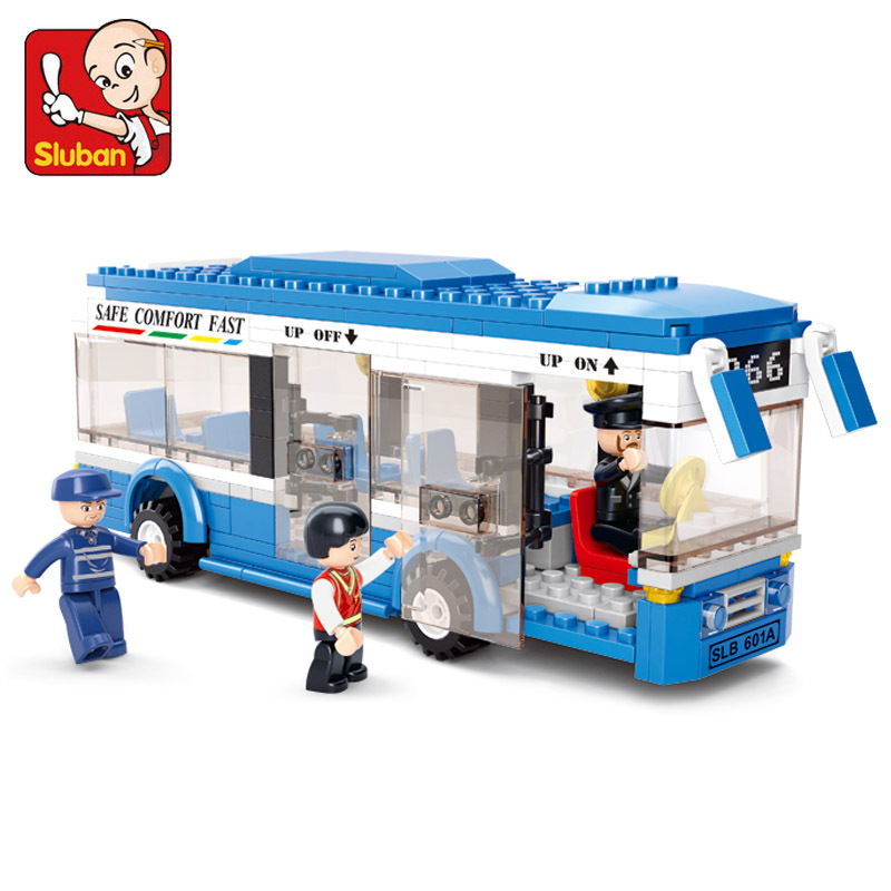 Sluban 0330 City Bus Building Blocks Compatible With Legoe DIY Enlighten Model Bricks Building Kit Education Toys Kids Gifts decool 3117 city creator 3 in 1 vacation getaways model building blocks enlighten diy figure toys for children compatible legoe