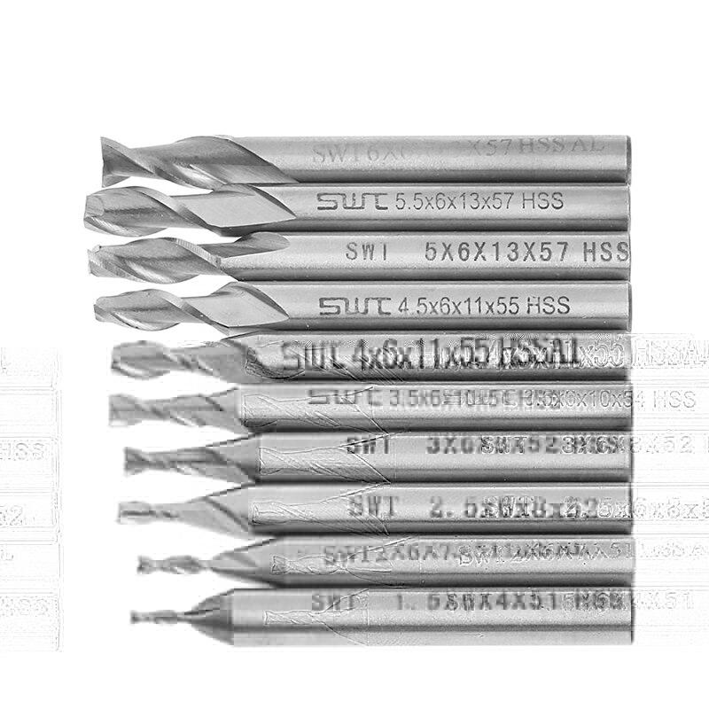 10Pcs/set 1.5-6mm HSS Straight Shank 2 Flute End Mill Cutter CNC Drill Bit Tool