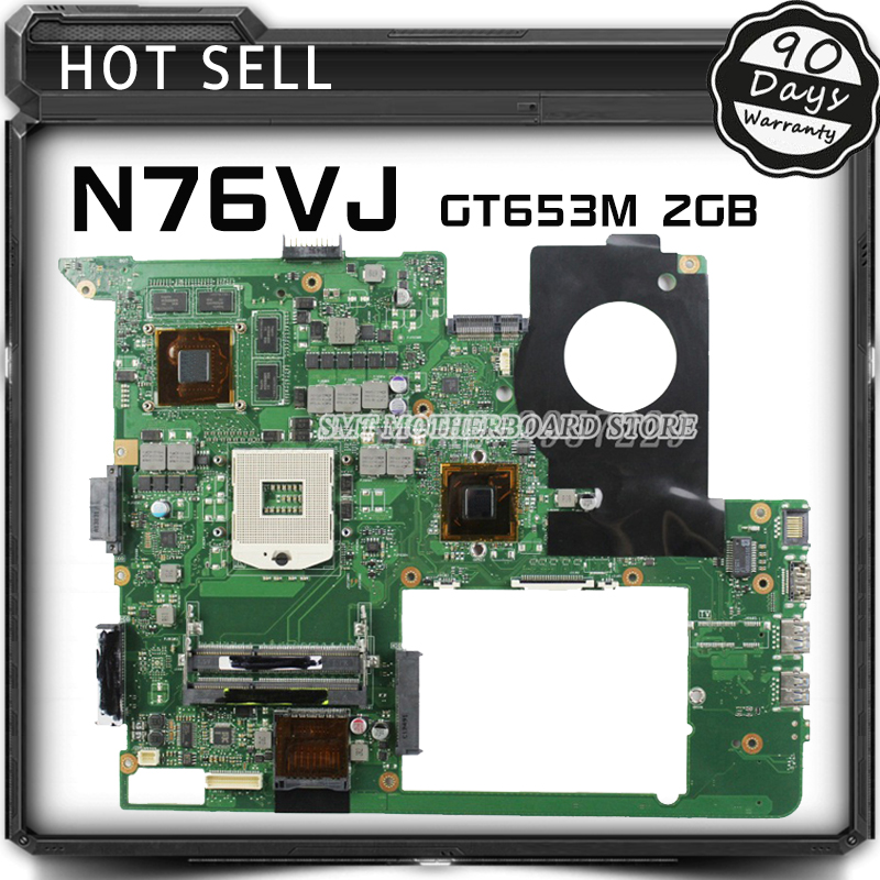 For N76VJ N76VB N76VZ N76VM N76V REV:2.2 Laptop Motherboard 2GB USB3.0 N13P-GLR-A1 GT635M fully tested & free shipping pca 6006 rev a1 belt ethernet port 100% tested perfect