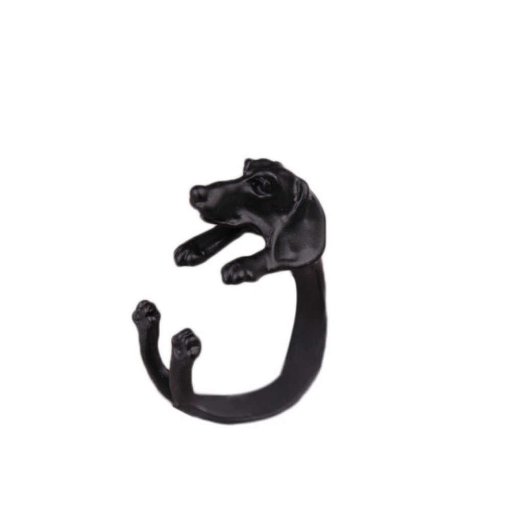 Retro Rings Adjustable Alternate Male And Female Pug Dog Animal Burst With Big Ears Popular Three Color Optional
