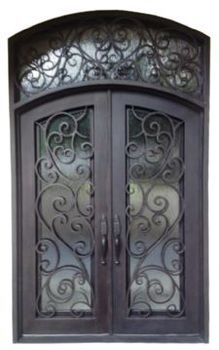 Wrought Iron Entry Door | Single Wrought Iron Front Doors Glass And Iron Front Doors
