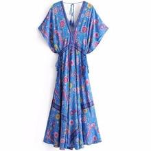 Bohemian Long Dresses Peacock Flower V-neck Print Maxi Dress New Lacing Up Sashes Tassel Boho Chic Summer Beach Wear