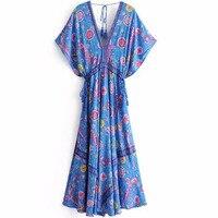 Bohemian Long Dresses Peacock Flower V neck Print Maxi Dress New Lacing Up Sashes Tassel Boho Chic Summer Beach Wear Dress