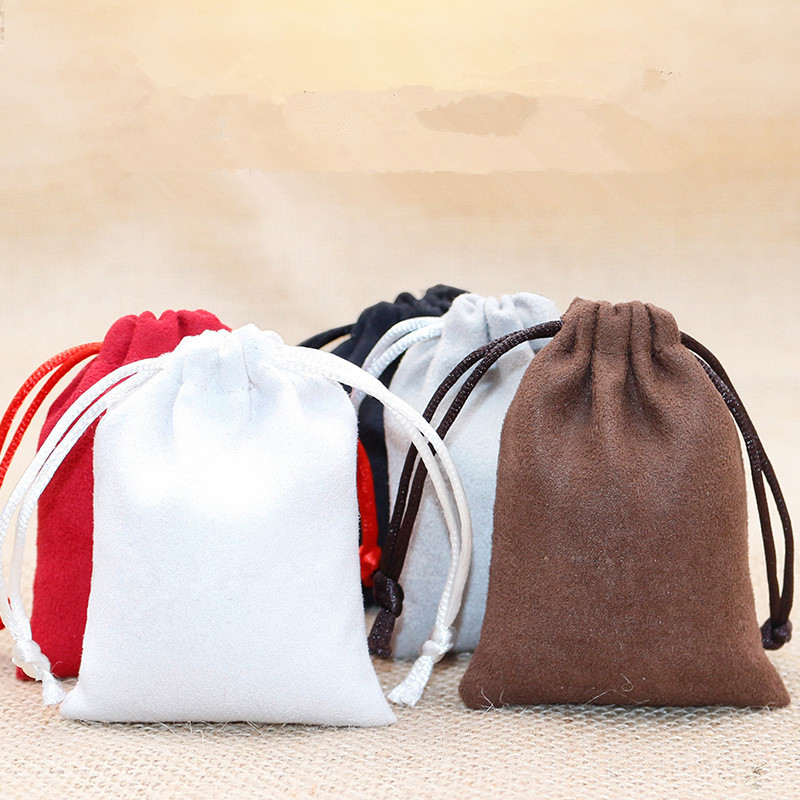 100pcs lot 9 12cm Double Side Suede Bag Custom Logo Print Pouch Drawstring Bags For Jewelry