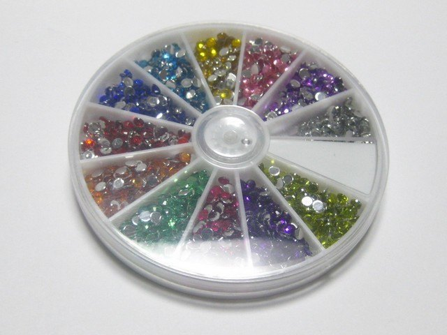 1500 Acrylic Nail Art Round Flatback Bead 3mm With Wheel 12 Colour