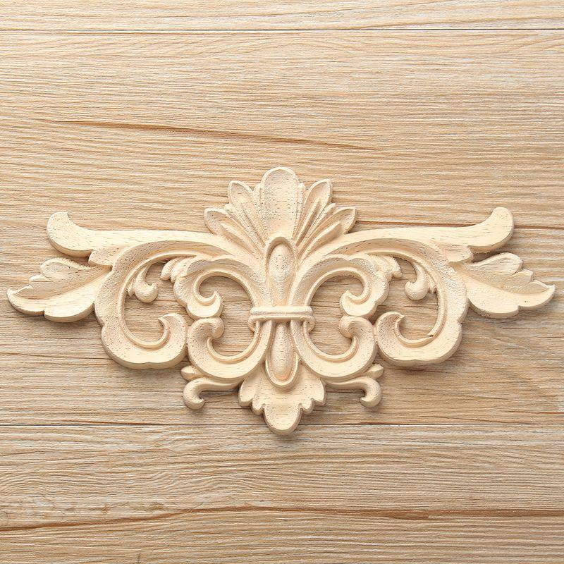 Lion Head Applique Carved Beech Wood Rustic moulding furniture Door decor 2X Set