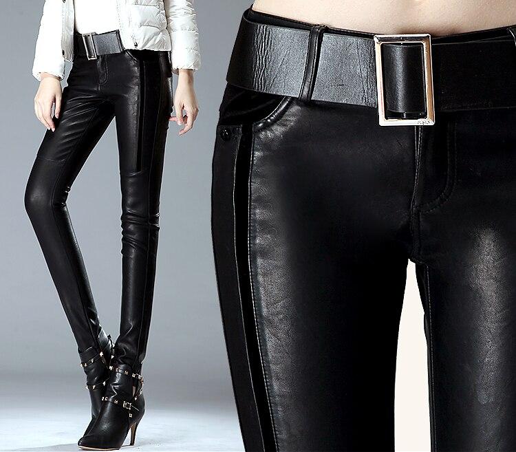 Chaud femme 2018 nouveau automne et hiver mode sexy en cuir pantalon serré en cuir PU pantalon pantalon femmes slim botte pantalon