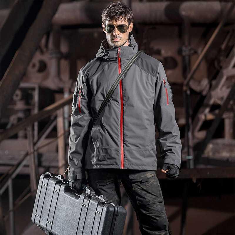 をフリー兵士屋外戦術ミリタリージャケット男性ソフト付き布防風ぬくもりコートキャンプ狩猟のための 2 セット