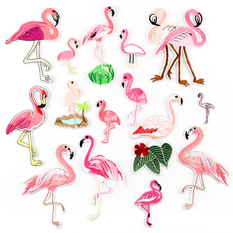 Embroidery Cloth Paste Flamingo Fashion Embroidery Patch Paste Clothing Accessories  Patches For Clothing  Appliques  Diy Patch