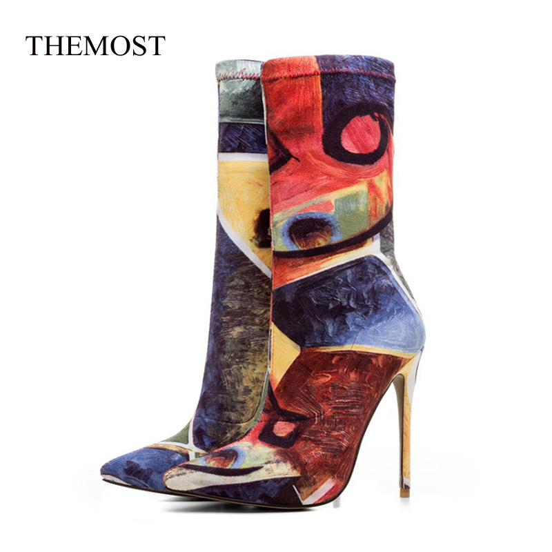 2018 Europe and the United States fashion pointed heel elastic boots large size print female flower boots