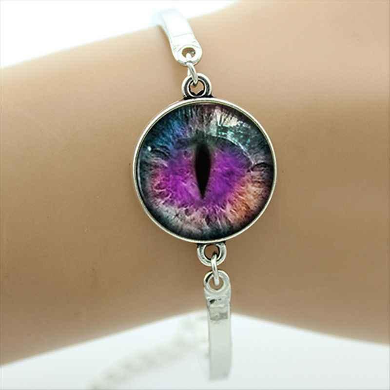 Bracelet mauvais œil dôme en verre argent plaqué métal bijoux Bracelet bonne chance Talisman Art charme bracelet bijoux